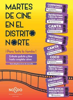 Arranca mañana la programación de los cines de verano en los barrios con un ciclo en el Distrito Norte, al que se sumarán más sesiones en zonas como Sur, Este-Alcosa-Torreblanca, Bellavista-La Palmera o Cerro-Amate
