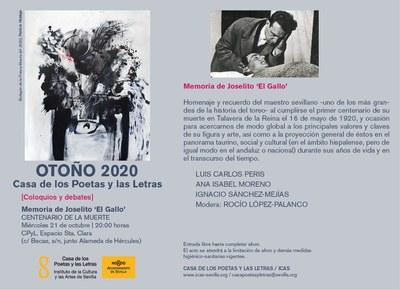 La Casa de los Poetas y las Letras del ICAS recuerda la figura de Joselito 'El Gallo'