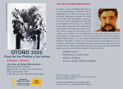 La Casa de los Poetas y las Letras rememora los valores, hitos y claves literarias del poeta sevillano Rafael Montesinos